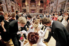 "Ceremonially dressed young dancers give a compliment to their ladies as the Vienna ball season opens on December 31, 2011 with the imperatorial ""Kaiserball"" (Emperorball) at the Hofburg castle in Vienna. AFP PHOTO / DIETER NAGL (Photo credit should read DIETER NAGL/AFP/Getty Images)"