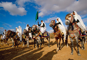 Lybian riders International Festival of the Sahara Douz Southern Tunisia.